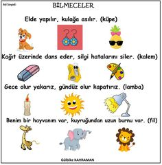 OKUL ÖNCESİ BİLMECELER - #BİLMECELER #OKUL #ÖNCESİ Summer School, Pre School, Nursery Rhymes, Party Printables, Montessori, Activities For Kids, Drama, Study, How To Plan