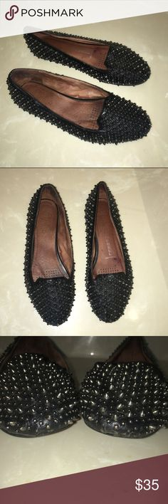Sam Edelman black leather silver studded flats 7 Final clearance! Sam Edelman black leather silver studded flats 7 the size tag is actually 7.5 but they run smaller. There is some wear on bottom front tip a few studs missing but not visible when wearing. The bottom sole tip is slightly detached as well but again is not viewable when wearing please no offers final price reduction Sam Edelman Shoes Flats & Loafers