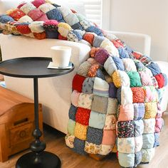 Quilting Tutorials, Quilting Projects, Sewing Projects, Puff Blanket, Biscuit Quilt, Puffy Quilt, Idee Diy, Patchwork Blanket, Quilt Top