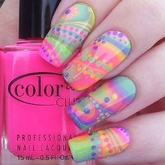 Cutey! Colorful nail design. Love this design, check out www.nailsinspiration.com for more nail inspiration.