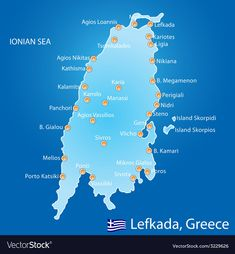 Island of Lefkada in Greece map vector image on VectorStock Types Of Photography, Candid Photography, Aerial Photography, Landscape Photography, Greece Map, Greece Travel, Chios Greece, Greece Holiday, Scene Image