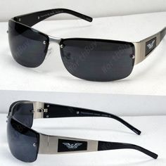 d70ce14fda Mens Rectangular Black Silver Sunglasses Shades Rimless Wrap Sport Golf  Designer: $6.95 End Date: