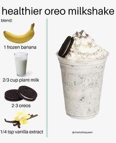 Looking for a healthy Oreo milkshake alternative ❓ look no further. Presenting the Healthy Oreo Milkshake recipe🍌😋💥 Oreo Shake, Oreo Milkshake, Milkshake Recipes, Easy Smoothie Recipes, Easy Smoothies, Snack Recipes, Cooking Recipes, Oreo Smoothie, Healthy Milkshake