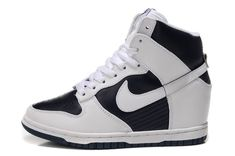 best sneakers e5425 ee459 Nike Dunk Sky High Wedge Women White And Obsidian