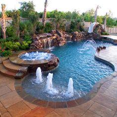 Backyard Pool Landscaping, Backyard Pool Designs, Swimming Pools Backyard, Swimming Pool Designs, Backyard Ideas, Big Backyard, Lap Pools, Backyard Shade, Indoor Pools