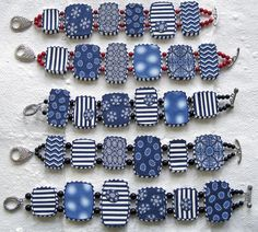 tile bracelets blue & white, via Flickr.