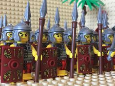 Roman Army Minifigs Horse Riders Flowers Tree made from generic and LEGO® building elements
