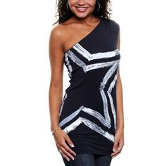 Dallas Cowboys Women's Hampshire One Shoulder Top - Navy Blue