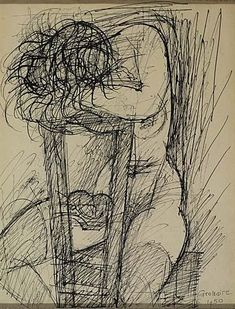 Marcel Gromaire - Nue Assise, 1950, Pen and ink on...