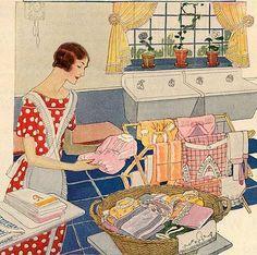 1920s era housewife doing laundry.