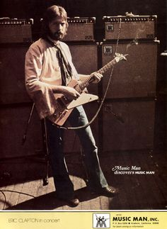 Eric Clapton with Gibson Explorer and Music Man rig