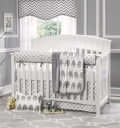 With Love Home Decor - Gray Elephant Baby 4-pc. bumper-less crib Bedding Set,
