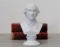 Vintage Bisque Shakespeare Bust Sculpture - William Shakespeare Bust Statue by Suite22 on Etsy