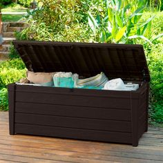 Keter Brightwood Outdoor Garden Storage Bench Box - 7290005828034 For Sale, Buy from Outdoor Storage Boxes collection at MyDeal for best discounts. Plastic Garden Storage Box, Garden Storage Bench, Plastic Sheds, Deck Storage, Storage Boxes, Storage Spaces, Outdoor Storage, Storage Ideas, Storage Benches