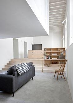 Modern split-level living room.