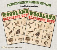 Bingo in het boskaarten - Free Printable Woodland Scavenger Hunt Game - Bnute Productions
