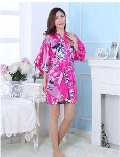 7bb0b5e0b9 Sexy Women Satin Robe Floral Peacock Print Bathrobe Short Kimono Night Bath  Robe Dressing Gown -MX8