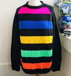 Hand knitted stripey jumper with black sleeves Hand Knitted Sweaters, Mohair Sweater, Men Sweater, Christmas Tree Jumper, Christmas Jumpers, Jumper Designs, Husband Love, Keep Warm