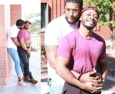 another loving Daddy and his boy Cute Gay Couples, Black Couples, Gorgeous Black Men, Black Love, Pregnant Man, Hunks Men, Lgbt Love, Hugs, Interracial Couples