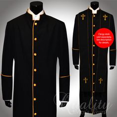 Clergy Robe All Sizes Solid Black Gold Piping Cassock Full Length Preacher $200 | eBay