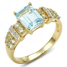 Size 6,7,8,9,10 Jewelry Woman's Blue Aquamarine 10KT Gold Filled Ring Gift #ringkingdom #Band