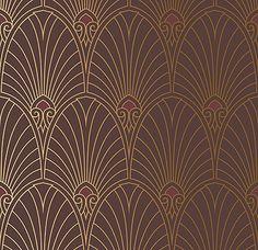 Bradbury Art Deco Designs | Havana Deco Fan Wallpaper in Mahogany