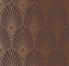 Bradbury Art Deco Designs | Havana Deco Fan Wallpaper in Mahogany