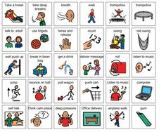 This board includes many activities that can be used as tools in different zones of regulation.  These can be put on the colored strips with velcro as a reminder for students.