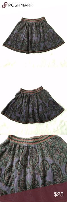 """Free People deep colored mini circle skirt sz S Free People skirt  SZ small.  Has some fuzzies :)  Measurements: Waist - 12.5"""" Length - 18""""  Check photos and see what color, kinda hard to explain.  Thick material.  Paisley print all over.   -- - :) I Have the matching top in my closet :) - -- * * *  **Please note that I try my hardest to suggest the true coloring of each item I post. Please check photos before purchasing since they are part of my description :)! Thanks!   **Got a question?…"""