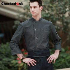 New arrival high quality cotton long sleeve grey stand collar french chef jacket denim cook work wear Waiter Uniform, Uniform Design, Europe Fashion, Denim Fabric, Denim Fashion, Work Wear, Chef Jackets, Unisex, Coat