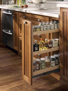 Cabinetry Trends in 2014 | Specialty Cabinets:  Pull-Out Spice Rack Cabinet | Instead of building a kitchen with cookie-cutter cabinets that can't fit anything, consider trendier specialty cabinets. Look into hidden storage options like spice racks, inserts for hanging pots and pans, and multi-layered pull-outs for dry goods.