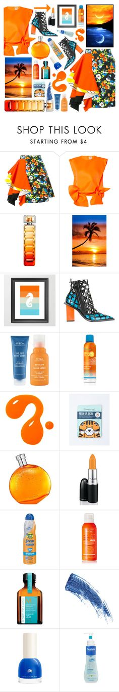 """Sunset"" by beanpod ❤ liked on Polyvore featuring MSGM, Maison Rabih Kayrouz, HUGO, Marques'Almeida, Aveda, Hermès, MAC Cosmetics, Banana Boat, Avène and Moroccanoil"