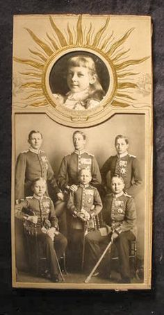 "family portrait of the six sons and daughter of Kaiser Wilhelm II. The boys are attired in military uniform, while the Princess Viktoria Luise is shown in typical Victorian dress.  She is the special feature of this special image card and her picture is displayed framed by sunlight because her father, German Emperor William II, so often described her as the ""light of my life."""
