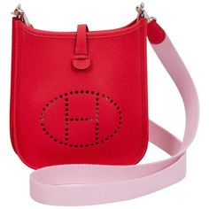Preowned New Hermes Mini Evelyne Rouge Pivoine/sakura Bag ($2,899) ❤ liked on Polyvore featuring bags, handbags, shoulder bags, novelty bags, red, red handbags, red purse, shoulder hand bags, mini shoulder bag and leather handbags
