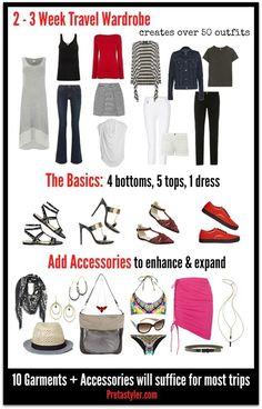 2-3 Week Trravel Wardrobe Capsule Wardrobe, Capsule Outfits, Fashion Capsule, Travel Wardrobe, Travel Capsule, Travel Wear, Travel Packing, Packing Tips, Travel Outfits