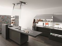 Cucina componibile con isola NEW LOGICA SYSTEM | ARTEMATICA VITRUM Linea Artematica by VALCUCINE | design Gabriele Centazzo
