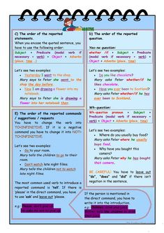 Reported speech - step by step * Step 1 * Grammar part 1 worksheet - Free ESL printable worksheets made by teachers Teaching English Grammar, English Grammar Worksheets, English Resources, English Language Learning, Grammar Book, Foreign Language, French Lessons, English Lessons, Learn English