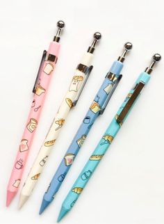 We stand behind the idea that stationery should never be boring! This mechanical pencil decorated with cute illustrations of pastry, milk and coffee mugs is here to bring a smile on anyone's face. Stationary School, School Stationery, Cute Stationery, Stationary Items, Stationary Supplies, Pencil Drawing Tutorials, Pencil Drawings, Kawaii Pens, Cute School Supplies