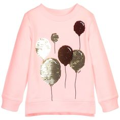 Girls pale pink long-sleeved Little Marc Jacobs sweatshirt with comfortable ribbed trim. Soft and lightweight, it is made in a sweatshirt cotton jersey with a cosy brushed lining and shimmering gold sequin balloons on the front.