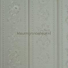 Glansvinyl streep met bloem behang 48727, Treasures van BN Wallcoverings
