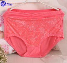 3pcs2017 nova moda fibra de bambu plus size calcinha de renda calcinha sem costura das mulheres tamanho grande underwear modal cuecas de cintura alta das senhoras(China (Mainland))
