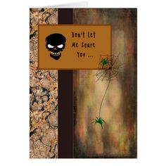 #Halloween Card with a Skeleton and Spiders - #Halloween happy halloween #festival #party #holiday