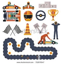 Stock Photo: Flat design karting motor race track apparel equipment and drivers set isolated on white background illustration