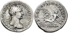 Silver coin of Emperor Trajan. He reigned in 98-117 AD.