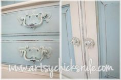 A 70's Solid Maple Hutch.....Transformed into a Coastal Shabby Treasure with Chalk Paint / Artsy Chicks Rule