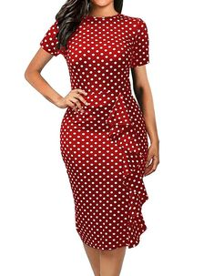 oxiuly Women's Vintage Polka Dot Floral Stretchy Work Business Casual Bodycon Sheath Knee-Length Pencil Dress - Red Striped X-Large Plus Size Maxi Dresses, Trendy Dresses, Casual Dresses, Short Sleeve Dresses, Dresses For Work, Office Dresses For Women, Dresses Dresses, Fall Dresses, Formal Dresses