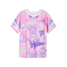 Pink Short Sleeve Bear Print T-Shirt (320 UYU) ❤ liked on Polyvore featuring tops, t-shirts, short sleeve tops, pink tee, pink t shirt, pink top and short sleeve tee