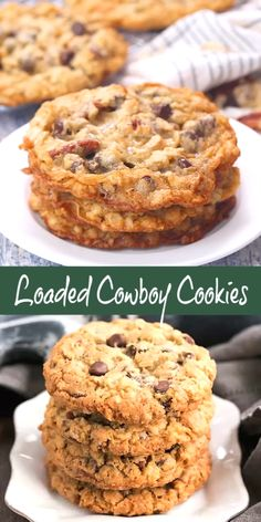 Loaded Cowboy Cookies Recipe - Chewy, buttery cookies with oats, chocolate chips, pecans and coconut dessert cookies cowboycookes rangercookies chocolatechipcookies snacks thatskinnychickcanbake 149604018859502712 Chocolate Cookie Recipes, Oatmeal Chocolate Chip Cookies, Easy Cookie Recipes, Baking Recipes, Dessert Recipes, Healthy Oatmeal Cookies, Desserts With Oatmeal, Easiest Cookie Recipe, Cranberry Oatmeal Cookies