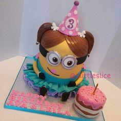 Minion cake , Girl minion , minion . follow us on Instagram @ alittleslice