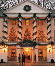 Williamsburg Inn, VA. This 62-room Inn has been attracting holiday guests since Rockefeller opened it in 1937.